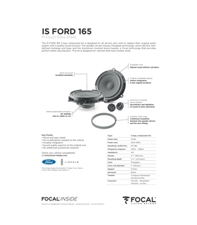 FOCAL KIT IS FORD 165 #2 - 1818ISFORD165
