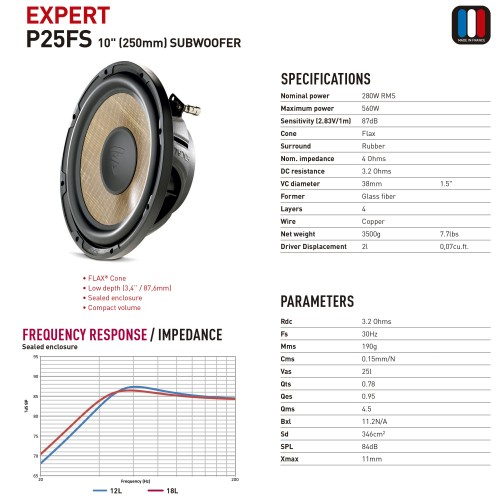 "Focal P25FS Subwoofer ""slim"""