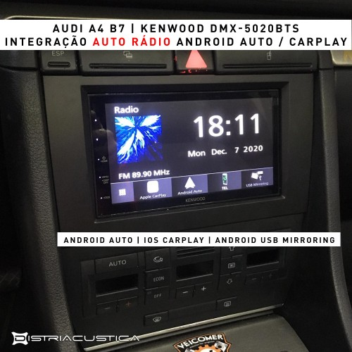 Audi A4 Android Auto Carplay colunas Focal